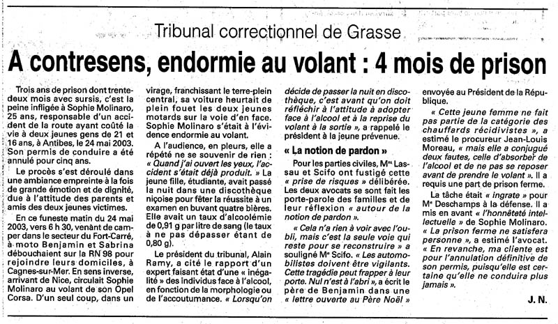 Article nice matin du 25 septembre 2004